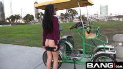 Maya bijou petite latin teen flashes tits in public