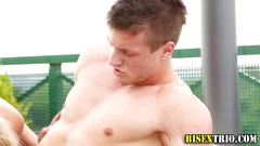 Bisex babes and dudes fuck on a rooftop balcony