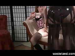 lesbian, wasteland.com, kinky, femdom, dominatrix, dildo riding, spanking, domination, orgasm, strap on, brunette, big tits, shaved vagina, fish net