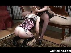Femdom with strap-on dildo trains femsub for cocksucking and fucks her