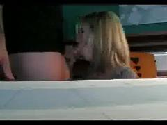 Blonde cheating wife sucking and fucking at the office