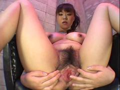 Saki hairy pussy close-up