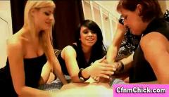 Cfnm femdom reverse gangbang handjob