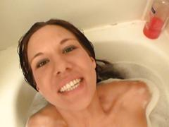 Misty haze bath with cum swallowing