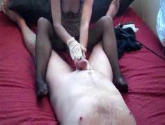 Rough handjob, footjob with cumplay