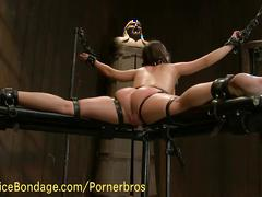 Restrained and tortured by her mistress