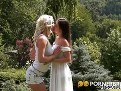 babe, blonde, brunette, lesbian, outdoor,