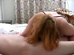 Mature chubby mom in stockings with son