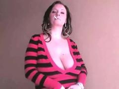 Smoking and huge tits