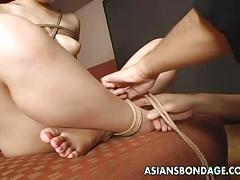 Naughty japanese girl gets tied up and gagged