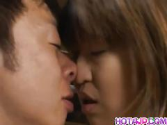 Hairy asian brunette rei asakawa gets banged hard