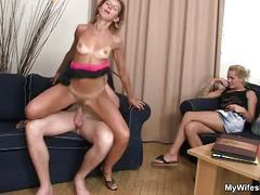 Hot chick watching her boyfriend fucking a milf