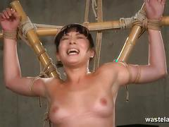 Oriental chick gets whipped and has an orgasm