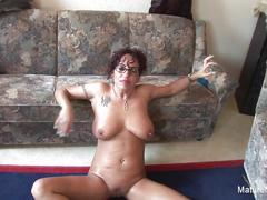 Grandma with glasses sucks some cock