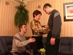 Russian mom and two lucky bastards