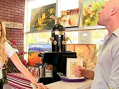 Big tit college blond teen waitress blows big cock for her orgasm.