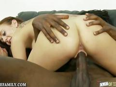 White pussy streched by black cock