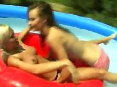 Lesbian teen girs lesbo pool sex outdoor