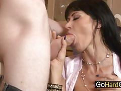 hardcore, blowjob, big tits, lingerie, milf, mom, mother, brunette, garter, son