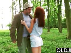 Beautiful young girl hardcore fucks grandpa in the forrest