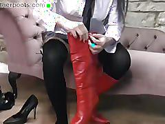 fetish, girlsinleatherboots.com, kinky, school girl, thigh boots, round ass, nylon, skirt, solo, brunette