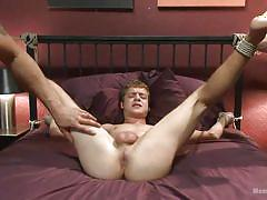 handjob, bdsm, anal insertion, gay, ropes, sex machine, tied on bed, men on edge, kink men, ian levine