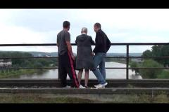 Public sex - extreme public threesome sex on a bridge