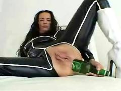 Beer bottle ass and pussy fuck by snahbrandy