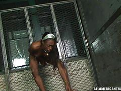 Sexy shemale with six pack jerking her tranny cock