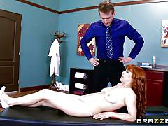 Redhead penny sucking her doctor's cock