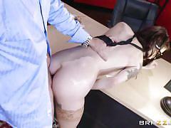 Milky-white brunette fucked hard on office desk