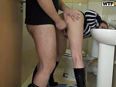 Amateur brunette in high heels gets fucked
