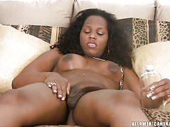 Sexy ebony shemale jerking off her big dick