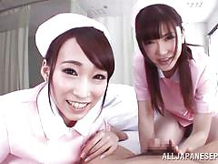 threesome, pov blowjob, licking cock, brunette babes, tongue kissing, asian censored, japanese nurses, jp nurse, all japanese pass, claire hasumi