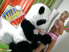 Small titted blonde gets hardcore panda sex