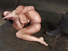 Tied brunette milf gets her shaved pussy played