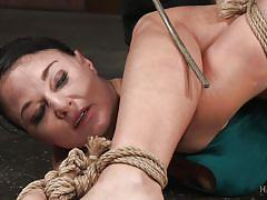 milf, flexible, dildo, brunette, natural tits, tied up, black man, rope bondage, hard tied, jack hammerx, london river