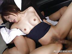 Brunette japanese school girl rides her teacher