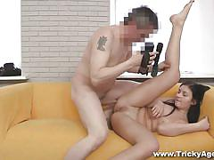 Brunette model fucked by her clever agent