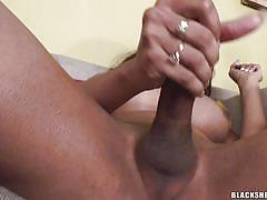 Busty shemale with big cock jerking off