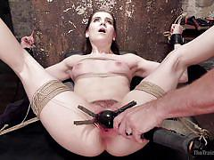 small tits, threesome, babe, vibrator, nipple clamps, clamps on pussy, rope bondage, slave training, the training of o, kink, owen gray, kasey warner