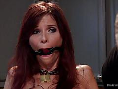 bdsm, domination, stockings, redhead milf, mouth gagged, nipple clamps, in kitchen, electric vibrator, slave training, the training of o, kink, syren de mer, owen gray