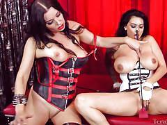 Lesbian milf tera and her brunette girlfriend in corset