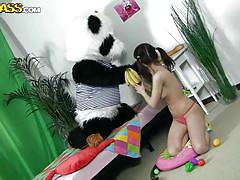 Brunette teen having naughty times with panda