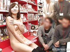Innocent looking jp babe doing solo in public