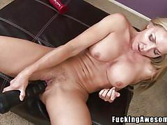 Alluring blonde whore trying her new toys