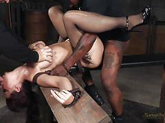 Dominated brunette lady fucked by guys in dungeon