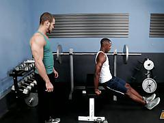 gay interracial, ebony gay, gay handjob, gay kissing, muscled gays, big black cock, workout, bearded guy, next door ebony, next door world, brock avery, derek maxum