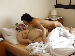 milf, lesbians, bbw granny, huge tits, brunette, fat mature, scissoring, double sided dildo, oma hotel, old nanny, hermine