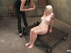 Sweet blonde sex slave wired by her dominatrix